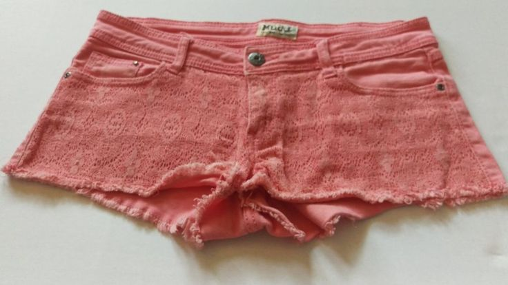 Mudd Coral Lacey Jean Frayed Shorts Juniors Size 9 #Mudd #Cargo