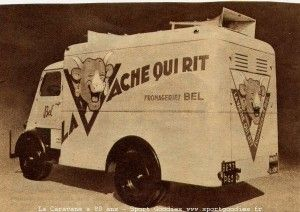 1950 La vache qui rit - Two loudspeakers installed on the roof of the van part carried advertising messages. Note the handmade painting.