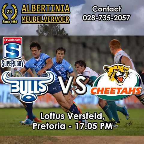 Get your biltong and chips ready - It's SupeRugby time again. Vodacom Bulls VS Toyota Cheetahs playing at Loftus Versfeld, Pretoria - 17:05 PM! Who do you think will win this epic battle? #supergees #bluebulls #cheetahs