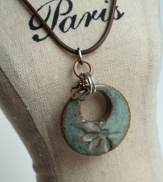 Soft and Watercolor Effect Ceramic Flower Pendant in by Artgirl56, $12.50 Love the jump rings!!!