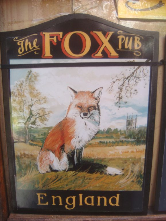 The Fox Pub tavern sign. Newer sign, but look at that fox face? Nice.