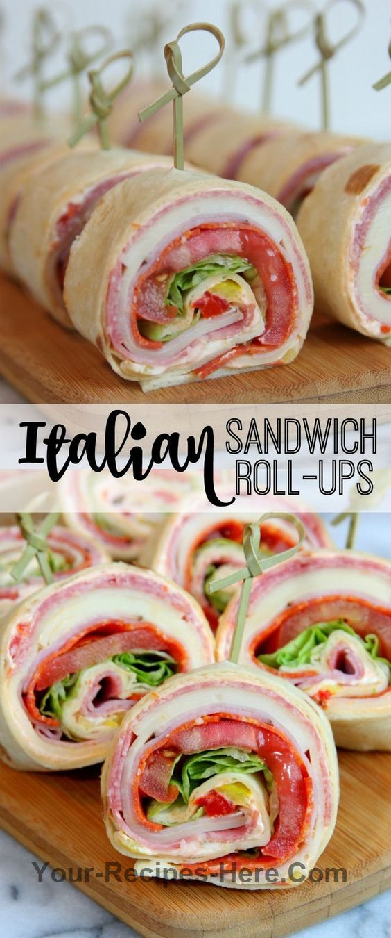 Italian Sandwich Roll-Ups - the perfect sandwich for summer entertaining, picnics, and trips to the pool. You can't go wrong with a tasty… Ingredients Meat 24 slices Genoa salami 24 slices Ham 1 pack Pepperoni Produce 1/4 cup Banana peppers 1 head Lettuce 2 Tomatoes, large Baking & Spices 1 tbsp Italian seasoning 1/4 cup Red peppers, roasted Bread & Baked Goods 8 Tortillas Dairy 8 oz Cream cheese 16 slices Sargento provolone cheese