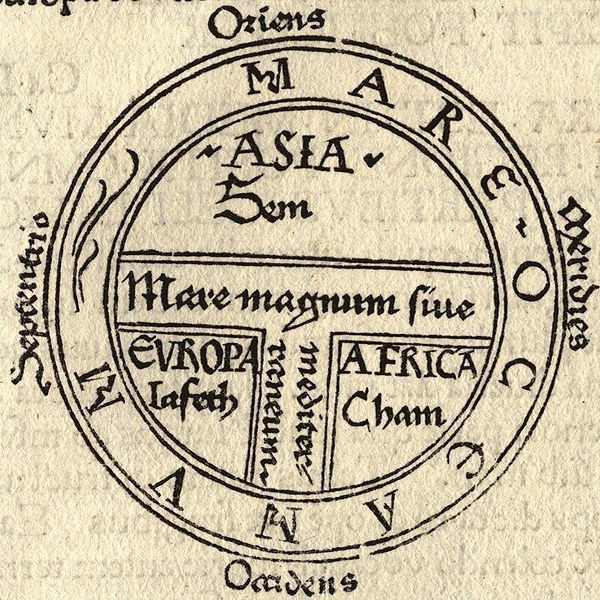 Based on the book of Genesis, the world was divided by medieval scholars into three, major (geographical-cum-racial) groups, each populated by one of the sons of Noah: Shem, Japheth, and Ham. This is depicted in the following 15th Century map: