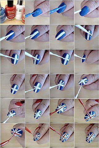 Tuto nail-art spécial drapeau anglais et américain