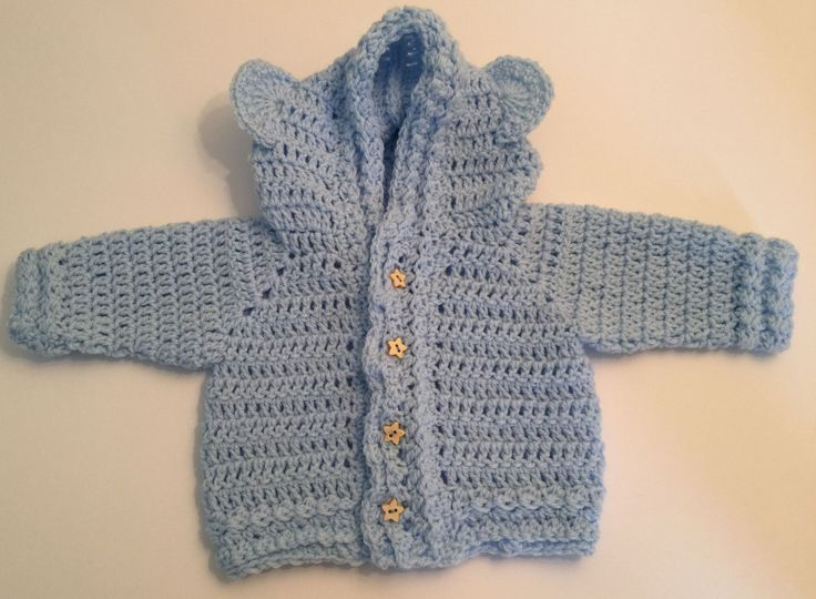 A personal favourite from my Etsy shop https://www.etsy.com/uk/listing/470014409/crochet-handmade-baby-bear-baby-cardigan