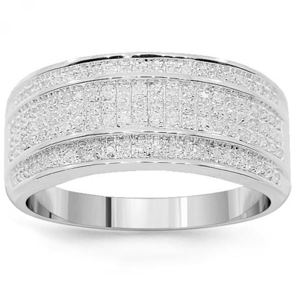 10K White Solid Gold Mens Diamond Wedding Band 0.38 Ctw