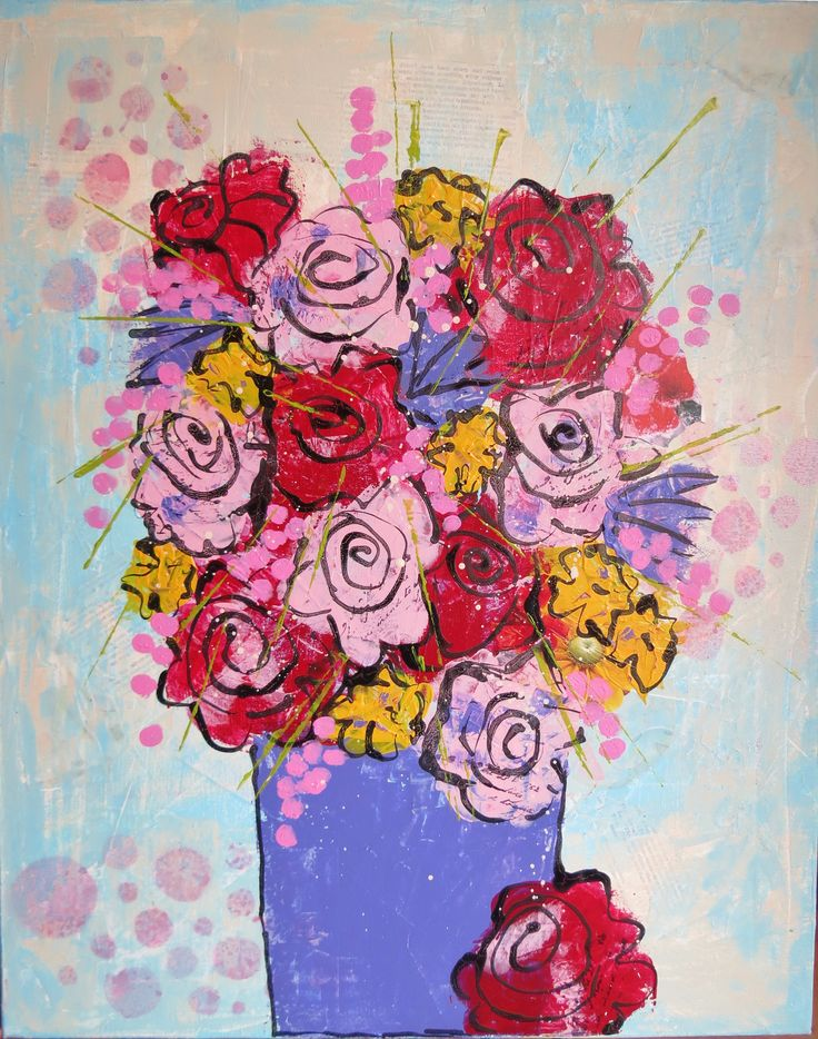 Mixed media flowers; painted with a credit card