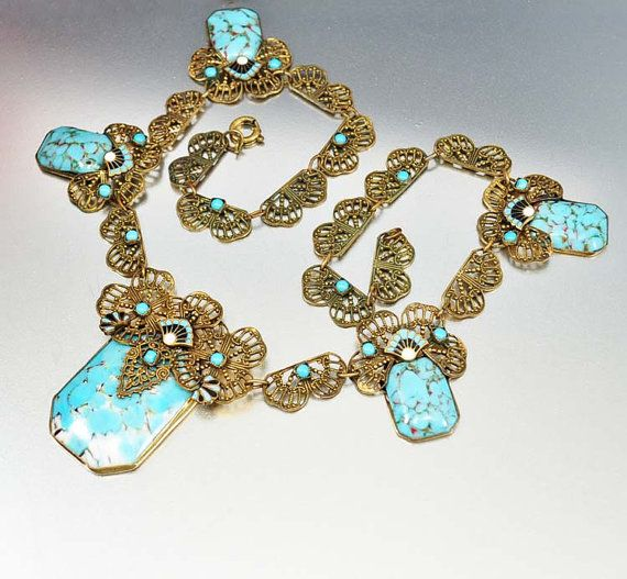 Turquoise Glass Enamel Czech Art Deco Necklace Gold Filigree Vintage Art Deco Jewelry on Etsy, $425.00
