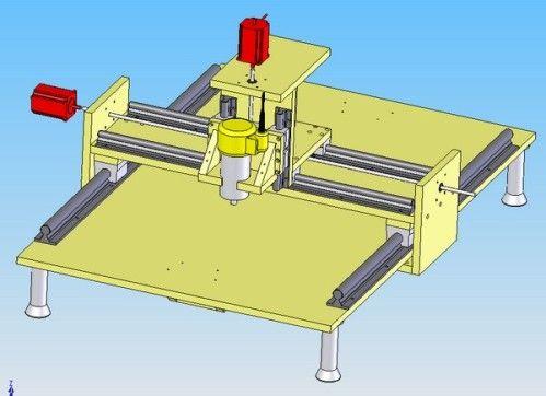 Voici le projet réalisé sous Solidworks: une table classique 3 axes qui déplacera une affleureuse DEWALT D26200. C'est une première version qui pourra évoluer grâce à la fraiseuse elle-même, je l'éspère... Je ne suis pas équipé pour découper le bois,...