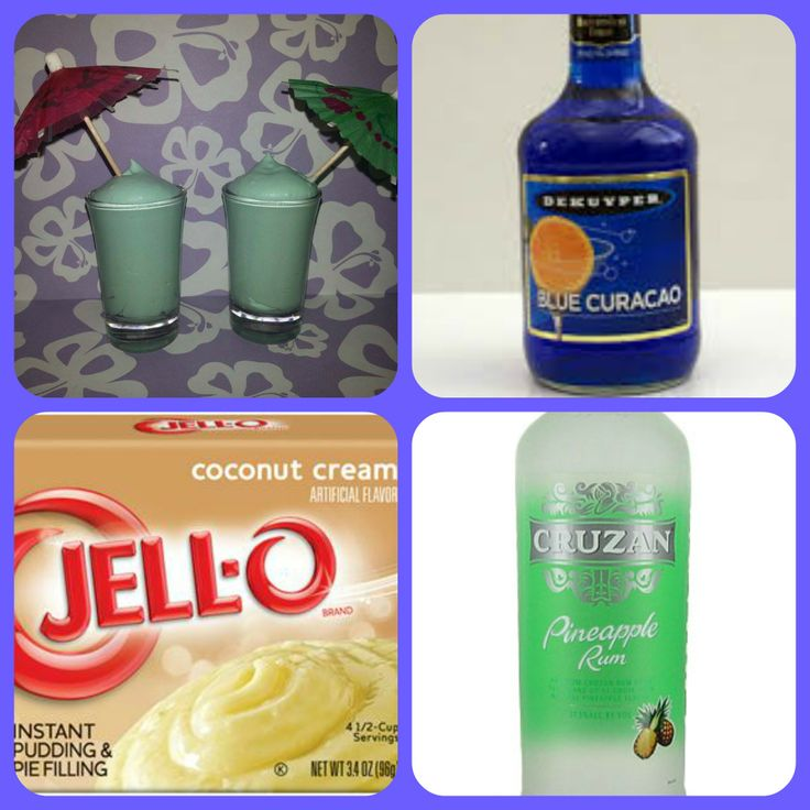 Blue Hawaiian Pudding Shots 1 small Pkg. Coconut Creme instant pudding ¾ Cup Milk 1/2 Cup Blue Curacao 1/4 Cup Pineapple Rum 8oz tub Cool Whip  Directions 1. Whisk together the milk, liquor, and instant pudding mix in a bowl until combined. 2. Add cool whip a little at a time with whisk. 3. Spoon the pudding mixture into shot glasses, disposable 'party shot' cups or 1 or 2 ounce cups with lids. Place in freezer for at least 2 hours