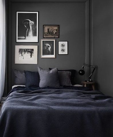 dark bedroom walls with accent decor