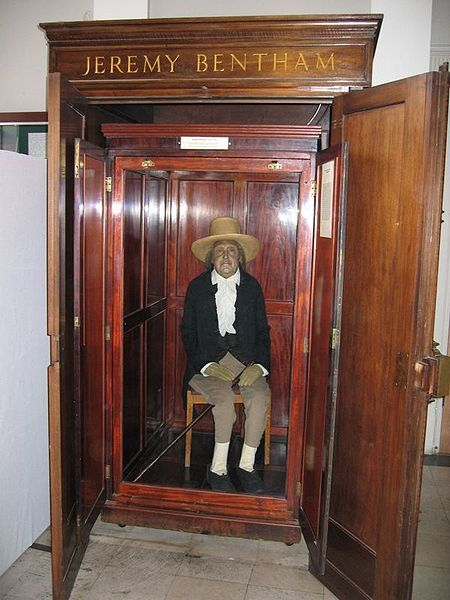 Jeremy Bentham's Auto-icon - kept in a wooden cabinet University College London, wax head (his real head had to be locked away for safe keeping)