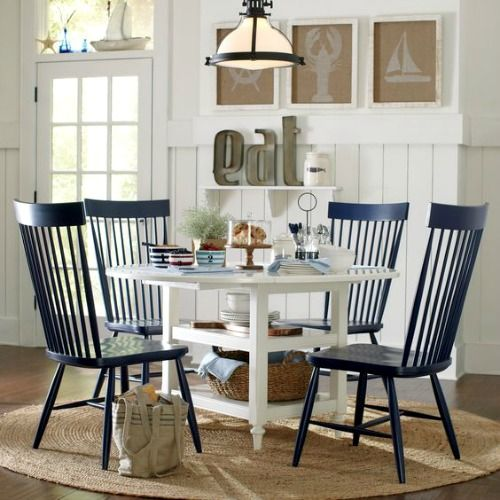 windsor chairs look great in this nautical inspired room a nice casual look for a eat in kitchen area