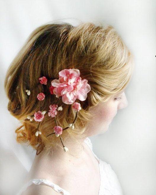 cherry blossom hair accessories, pink bridal flower hair clip, wedding hair piece, wedding headpiece, bridesmaid hair clip - SAKURA BRANCH on Etsy, $60.00