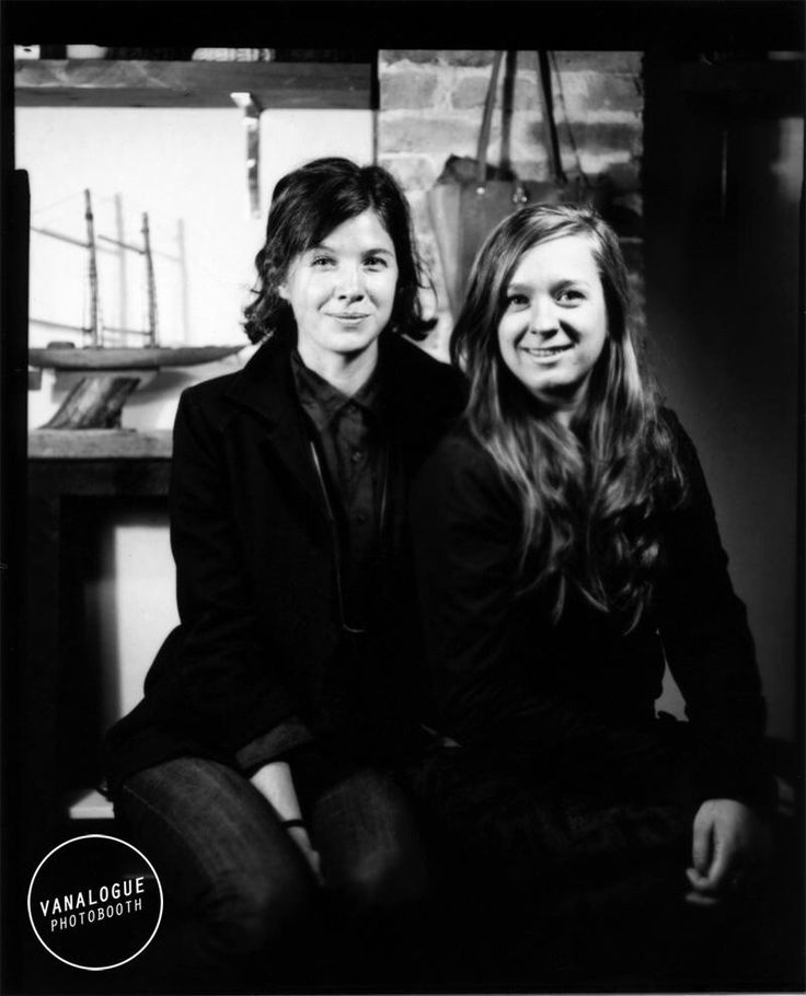 TROUT & CO. co-founders, Hannah J. Newton & Emilie Crewe. Hand-developed photo curtesy of Vanalogue Photobooth in Vancouver, BC. #vancouver #eastvan #photography #handprinted #black&white