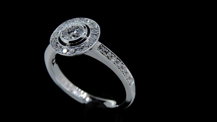 'JADE' -- Stunning Vintage Style Halo Diamond Engagement Ring set with Brilliant Cut Diamonds with Millegrain Edge Detail & Pretty Bowl Setting Diamond Wt.Centre 0.32ct F/VS1 - Total Diamond - Wt. 0.70ct