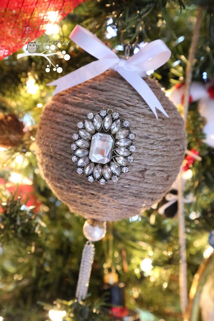 Rustic christmas tree ornaments - Lookie What I Did Jute Wrapped Ornament Diy Jute Wrapped Ornament With Bling Rustic Christmas Trees