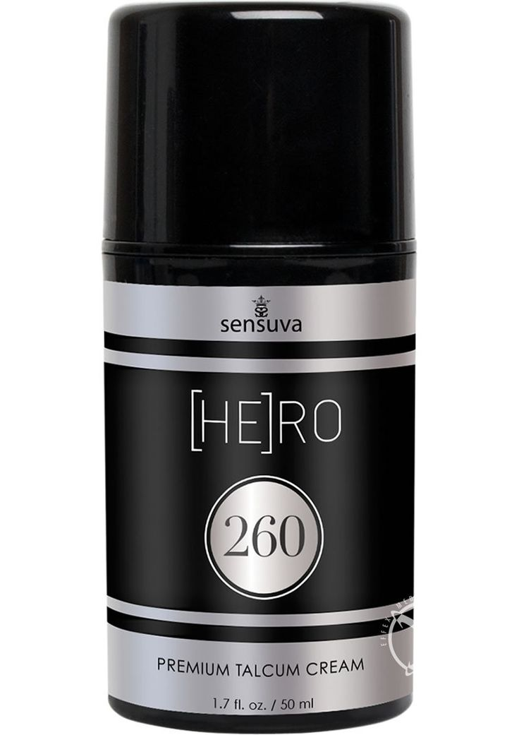 Hero 260 Talcum Cream For Men 1.7oz Enjoy working up a good sweat? Keep your hero nice and dry in every situation with this unique cream that dries powder soft. Excellent to use after shaving or bathing. No chaffing, no sweating. Scented with our classically masculine [HE]RO 260 signature scent.