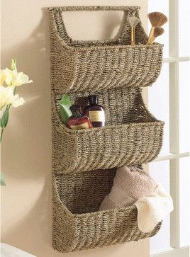 Seagrass 3 Tier Wall Basket - contemporary - wall shelves - Touch of Class