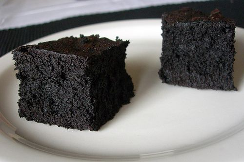 Pitch black brownies - adapted from Alton Brown.   Uses black cocoa.