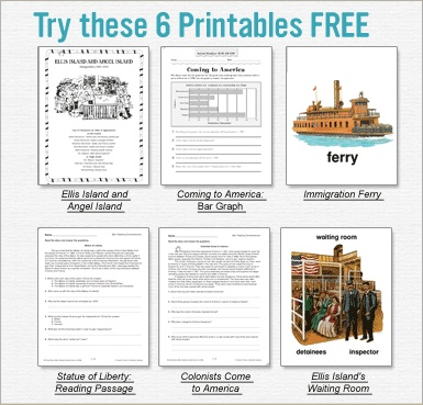 Immigration Printables FREE. These were really good and I'll save and use every year.