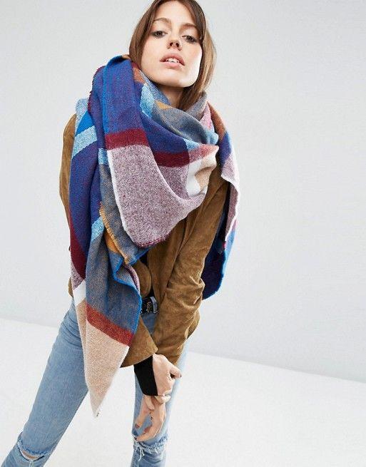 ASOS | ASOS – Übergroßer quadratischer Schal im gewebten Karomuster im Stil der 70-er