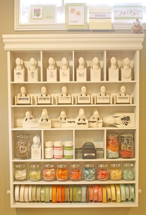 @Keri Coots, this is what i have in my craft room! I bought it at Micheals with one of the 40% off coupon. I think it retails for $50ish. The bottom two rows have dowles for ribbon. Nto near big enough for my out of control stash, but it's nice to display my favorites! I keep all my thread and other notions displayed on it too =)