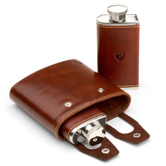 Double 6oz Leather Hip Flask in Smooth Cognac & Espresso Suede from Aspinal of London
