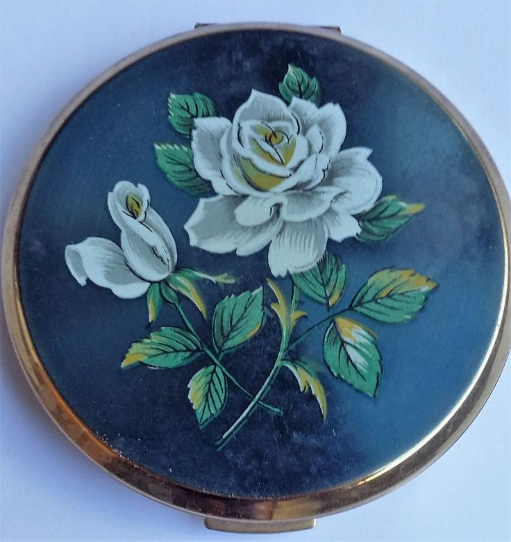 Vintage Stratton Blue Floral Powder Compact