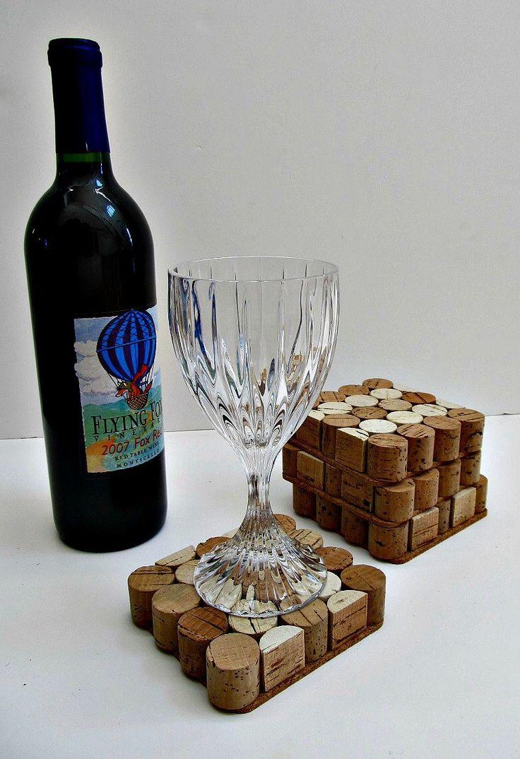 Square Wine Cork Coasters - Set of Four - Wine Accessory, Home Decor,  Holiday