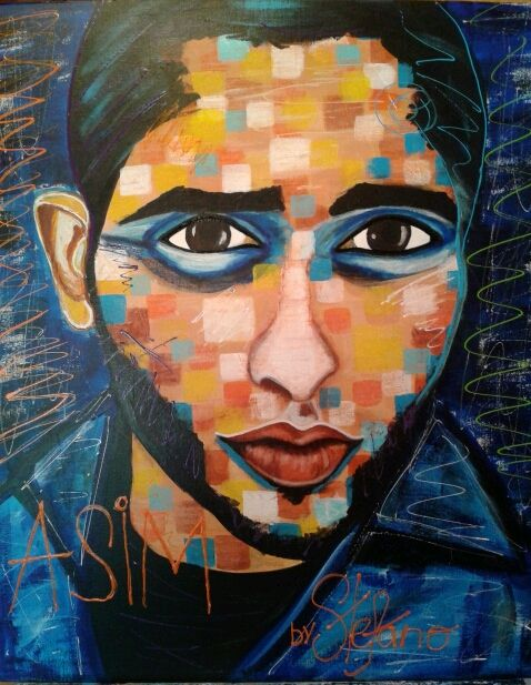 Asim by STEFANO 2015 (acrylic on canvas 50x60cm) model:Asim acrylic,painting,painter,portrait,man,fashion art,fineart,faces