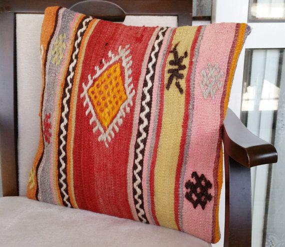 Turkish Kilim Pillow Cover Anatolian Kilim Rugs by OtantikArt