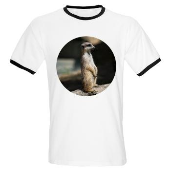 #Meerkat #T-Shirt  Meerkat or suricate, Suricata suricatta, small mammal belonging to the mongoose family, sitting on the tree, painting effect    $19.19