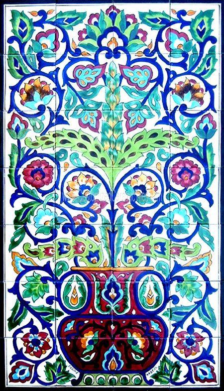 TURKISH CERAMIC TILES: Turkish design mosaic panel hand painted wall decor mural bath kitchen backsplash pool patio spa art tile 42in x 24in on Etsy, $300.00