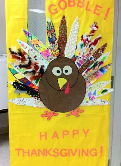 Turkey-Door-Display. Collaborative Activity. (All Kids Make Their Own Turkey Feather.