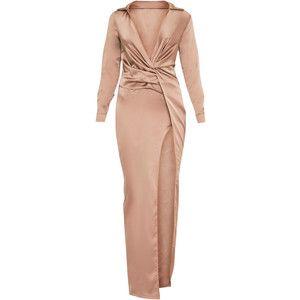 Alyssia Champagne Twist Front Maxi Shirt Dress