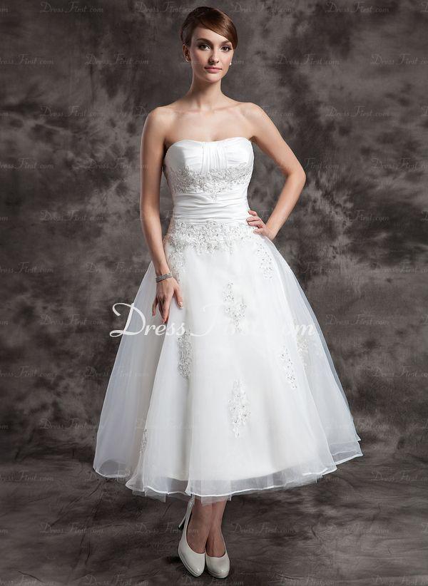 A-linjeformat Hjärtformad Tea-Längd Taft tyll Organza Bröllopsklänning med Rufsar spetsar Pärlbrodering (002014997) - DressFirst