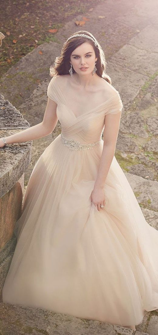 Timeless chiffon champagne wedding dress with DIY rhinestone belt ...