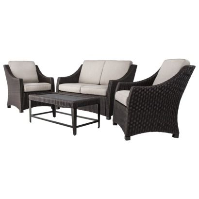 threshold belvedere 4 piece wicker patio conversation furniture set tan 797
