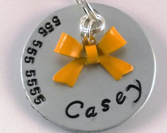 Yellow Bow dog id tag unique pet tagcustomized by KeiiekPetTags