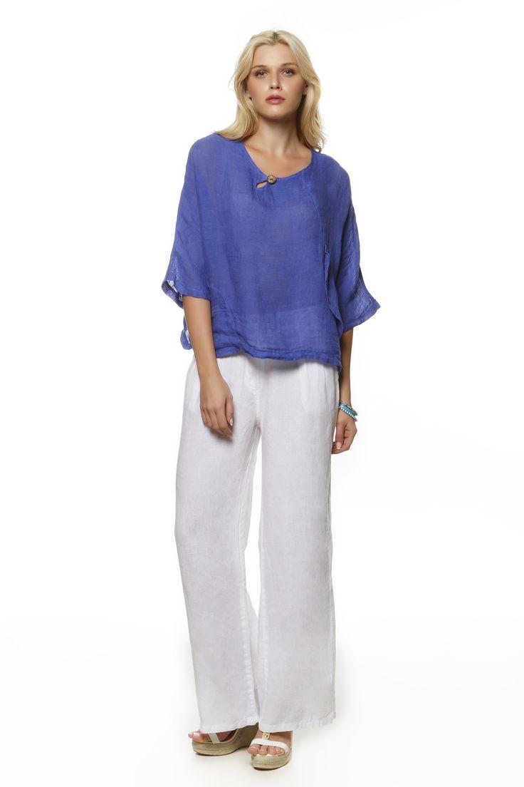 Linen Gauze Blouse 231 and Linen Pants 752 http://eshop.hariscotton.gr/