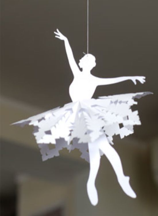Snowflake ballerina. What a cute idea for all the ballerinas in your life. Includes snowflake tutorial and printable ballerina templates.