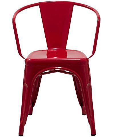 Duhome 0738 Esszimmerstuhl aus Metall / Eisen ROT Küchenstuhl Stuhl stapelbar