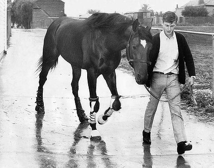 Rain Lover (Melbourne Cup winner, 1968 & 1969) with strapper at the time, Les Samba