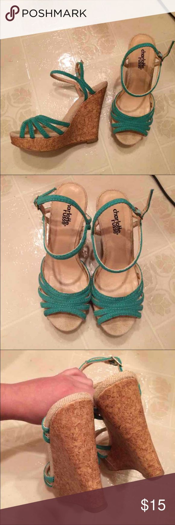 teal/turquoise wedge heels 1 inch platform and 4 inch cork wedge heel. great condition, very comfortable. from Charlotte Russe. worn 3 times for about 5 hours each. Charlotte Russe Shoes Wedges