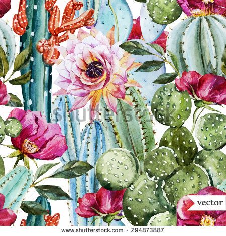 watercolor vector pattern with flowers roses and cactus, bright tropical pattern