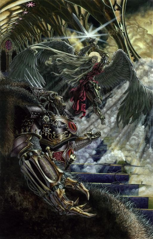 "Warhammer 40k, The Horus Heresy - ""Sanguinius confronts his former brother Primarch, the corrupted Warmaster Horus."""