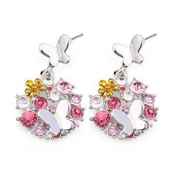 Sweet Colorful Crystal Flower Ear Drop Butterfly Earrings at Banggood