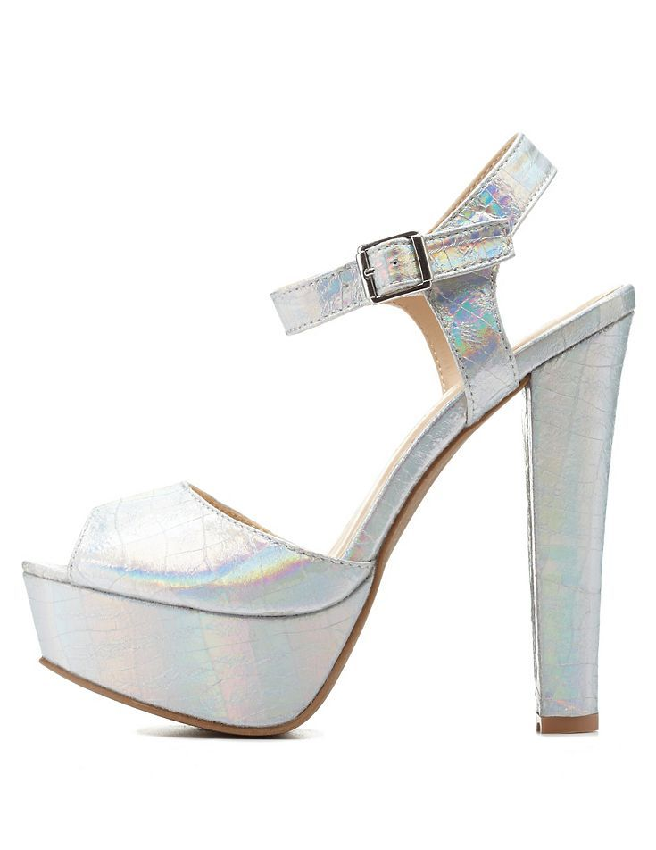Metallic Platform Chunky Heels by Wild Diva Lounge at Charlotte ...