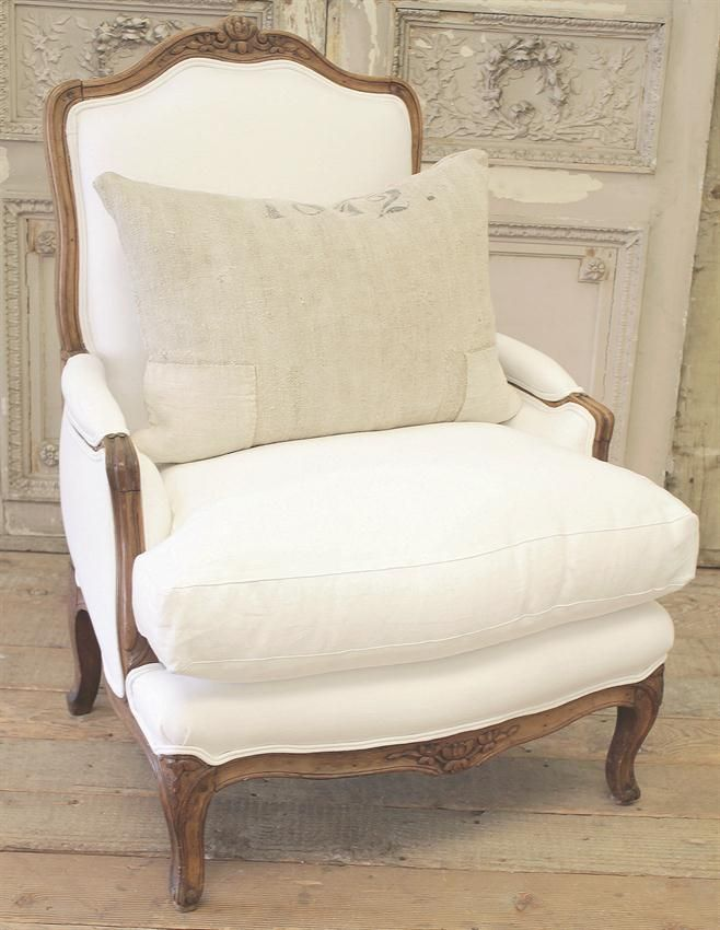 Antique French Country Bergere Chair from Full Bloom Cottage